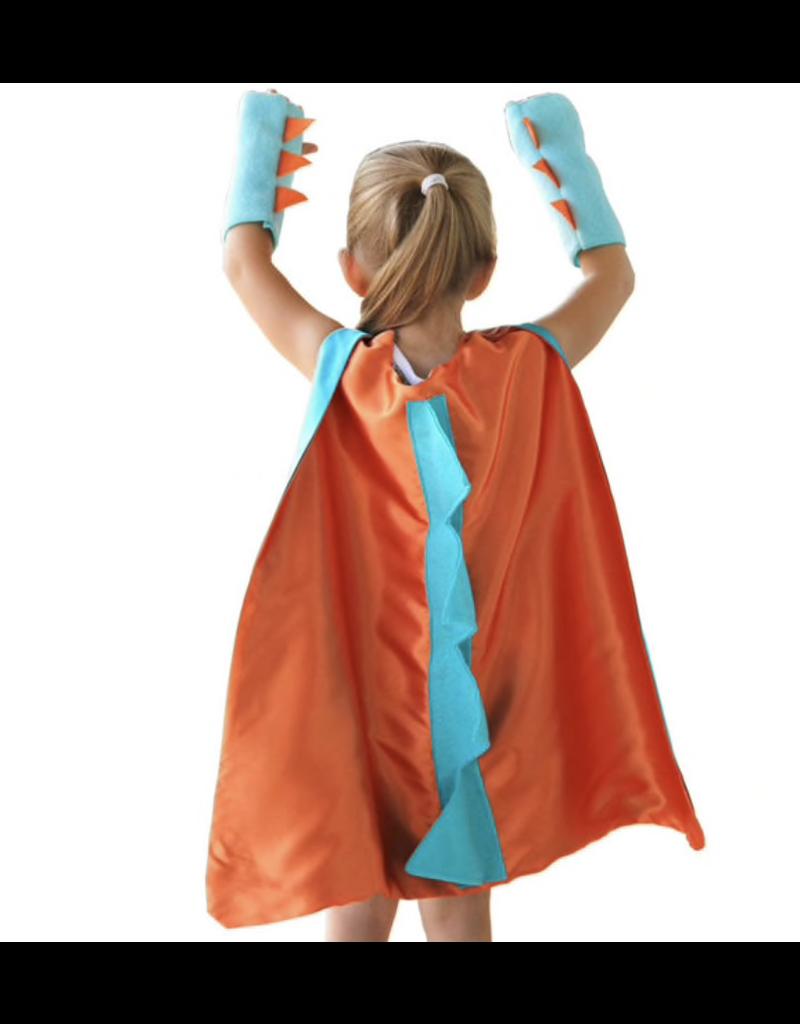 Dinosaur Orange Cape + Gloves, One Size