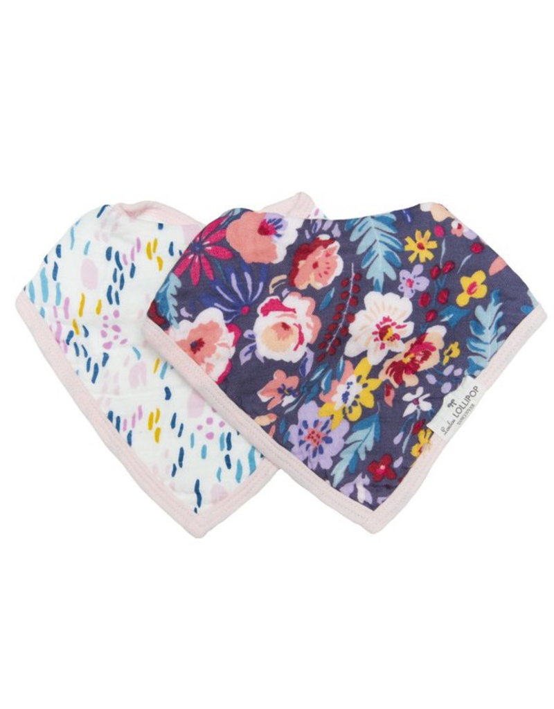Loulou Lollipop Bandana Bib Set, Dark Field Flowers, 2pk