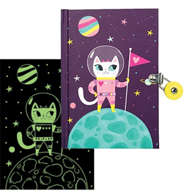 Mudpuppy Space Cat Glow-in-the-Dark Locked Diary