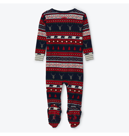 Hatley Fair Isle Stags Organic Cotton Footed Coverall 0-3m, 6-9m