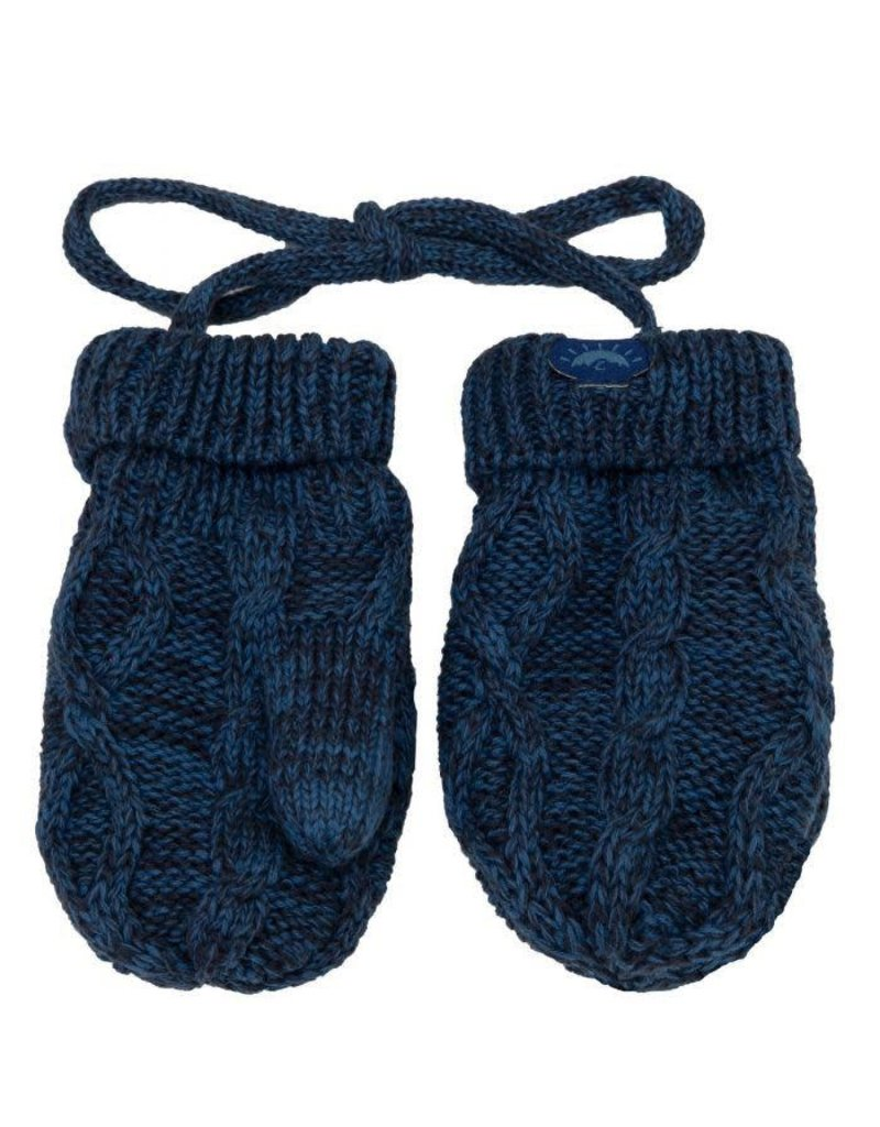 Cable Knit Mitten, 0-9m, Blue