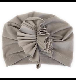 Baby Wisp Hat with Ruffles, Grey, 3-12m