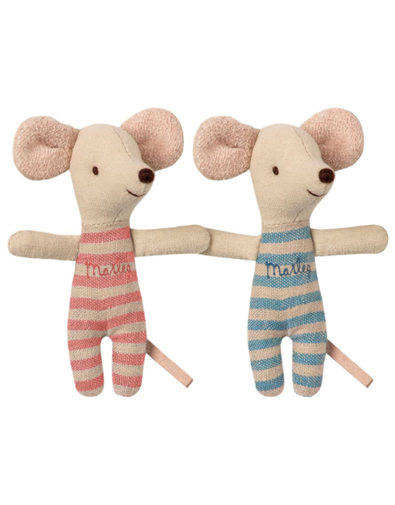 Maileg Baby Twins Mice in Box (Floral Blanket)
