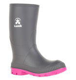 Kamik Charcoal/Magenta Stomp Youth Rain Boots