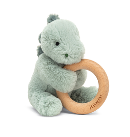 Jellycat Puffles Dino Wooden Ring Rattle