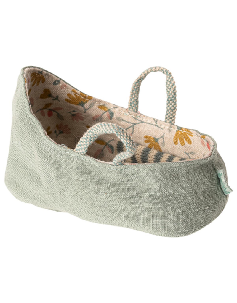 Maileg Baby Mouse Carry Cot, Dusty Green