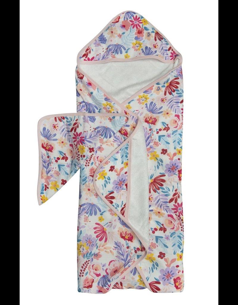 Loulou Lollipop Light Field Flowers Hooded Towel & Cloth