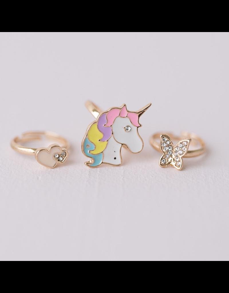Great Pretenders Butterfly & Unicorn Ring, 3 Pcs