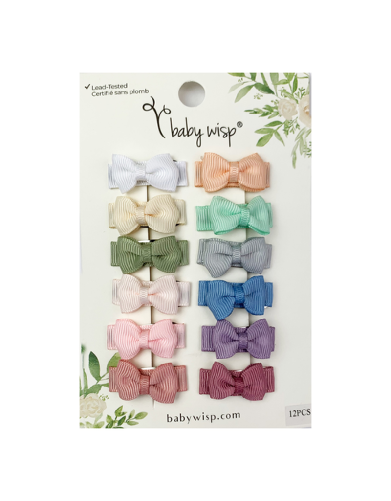 Baby Wisp Ultimate Baby Bow Gift Set - 12 Pack Snap Clips