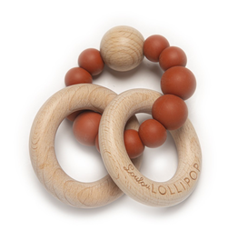 Loulou Lollipop Silicone/Wood Bubble Rattle - Rust