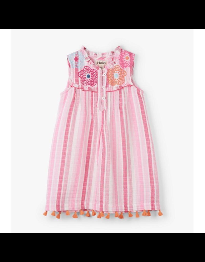 Hatley Floral Stripes Pin Tuck Dress Size 4