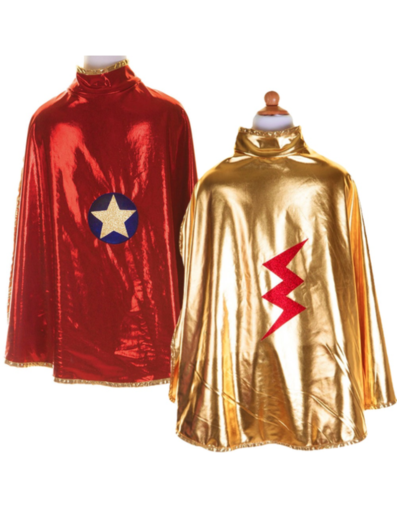 Great Pretenders Reversible Wonder Cape, Gold and Red, Size 5-6