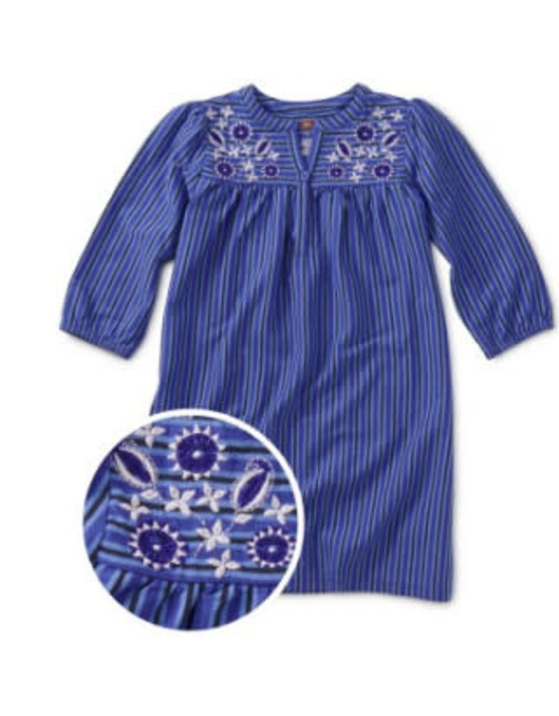 Tea Collection Embroidered Henley Dress - Majorelle