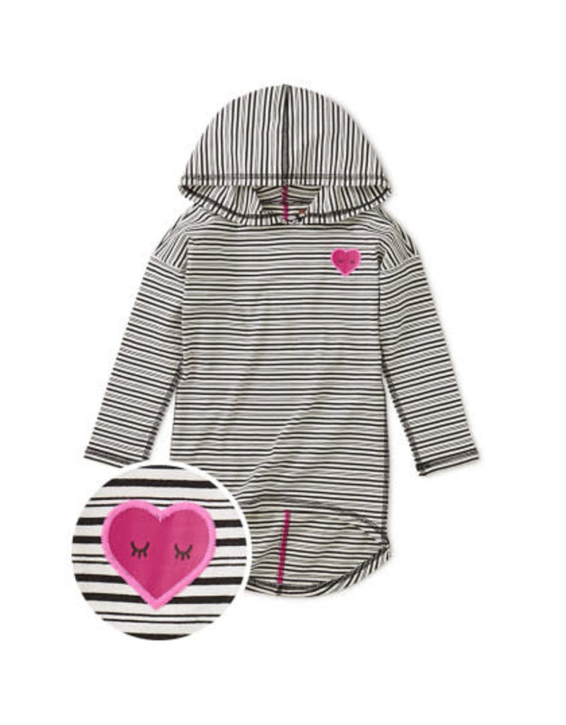 Tea Collection Heart Hi-Lo Pullover Hoodie - Black/White