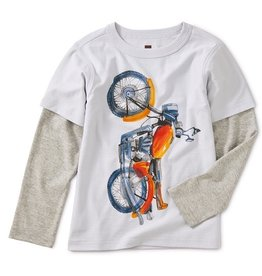 Tea Collection Vertical Moto Graphic Layered Tee -Multi