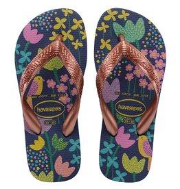 Blue/Gold Flores Havaianas Sandals