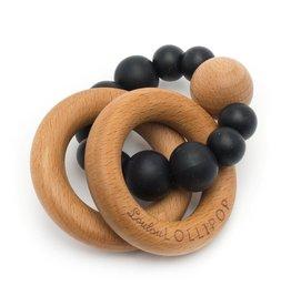 Loulou Lollipop Silicone/Wood Bubble Rattle - Black