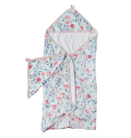 Loulou Lollipop Bluebells Hooded Towel & Cloth