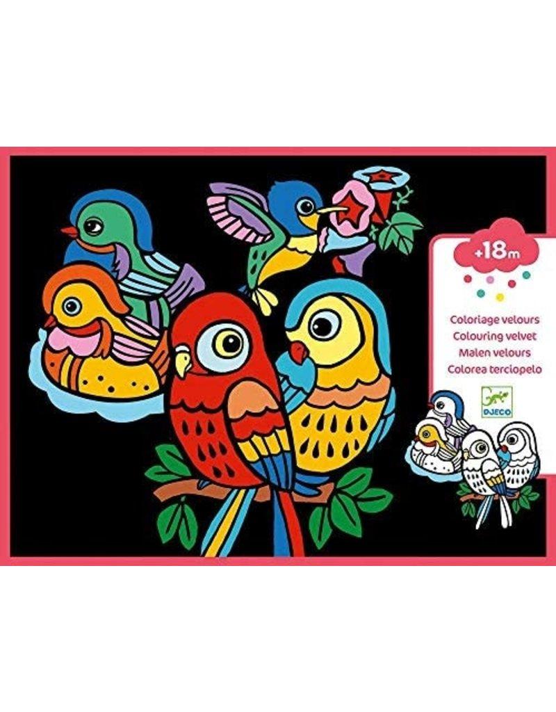 Djeco Colouring Velvet - Baby Birds