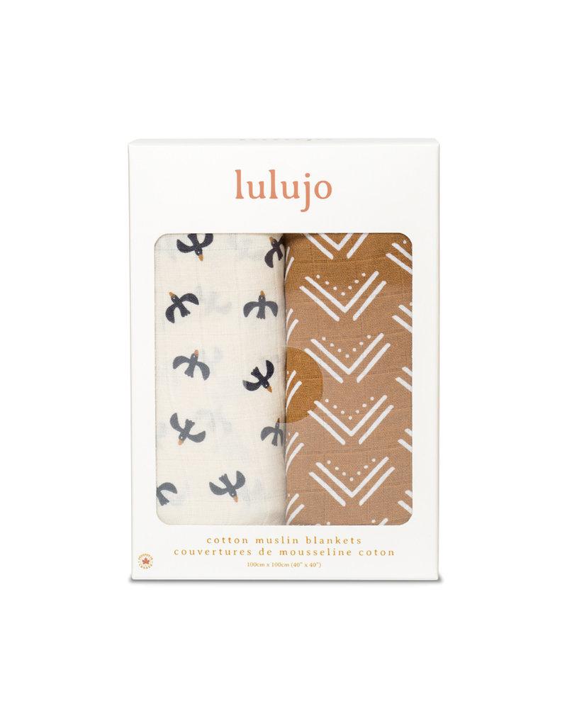 Lulujo Muslin 2pk Cotton Swaddles Mudcloth/Black Birds