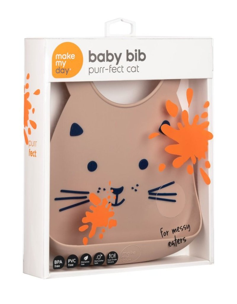 Make My Day Silicone Bib, Purr-Fect, Cat