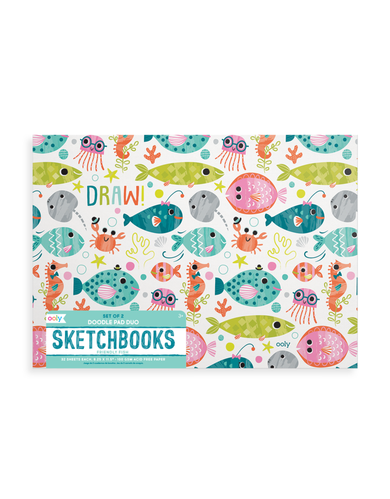 Ooly Doodle Pad Duo Sketchbooks: Friendly Fish - 2pk