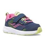 Saucony Little Kid's Wind Shield A/C Jr. Sneaker Navy/Pink
