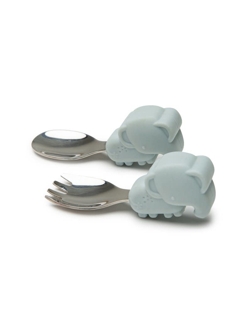 Loulou Lollipop Born to be Wild Learning Spoon/Fork Set - Elephant