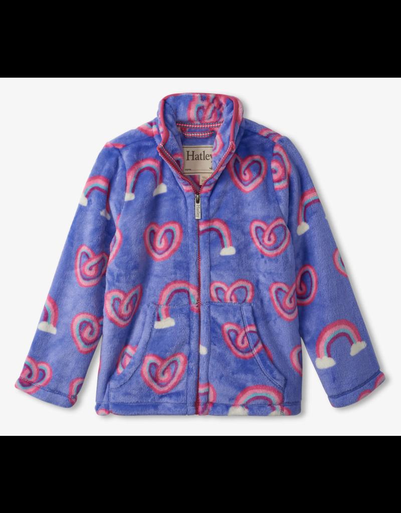 Hatley Twisty Rainbow Hearts Fleece Zip Up