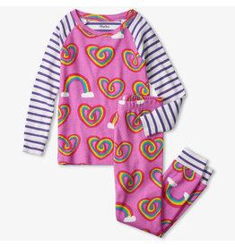 Hatley Twisty Rainbow Hearts Organic PJs