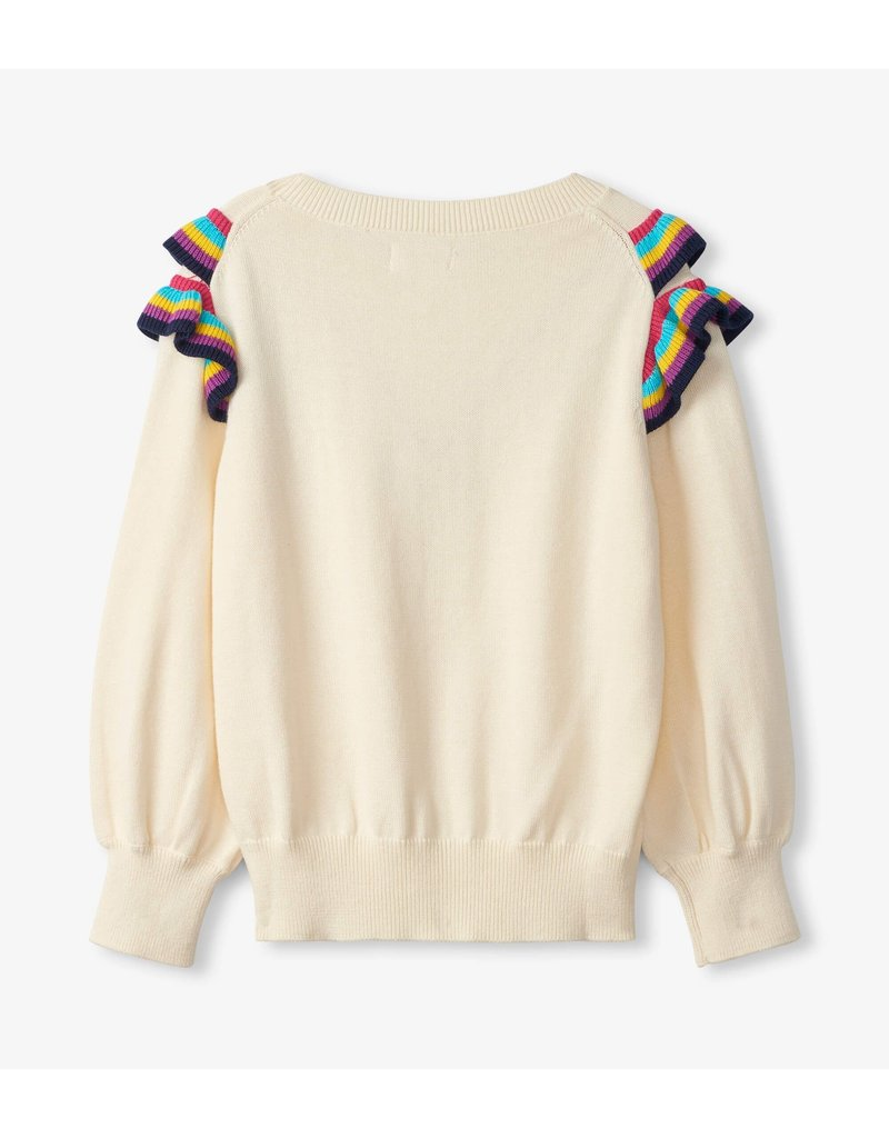 Hatley Cream Rainbow Ruffle Sweater