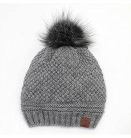 Knit Pompom Toque, Grey
