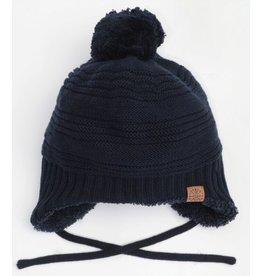 Knit Tie Pompom Hat, Navy