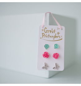 Great Pretenders Rose Studded Earrings, 3 Sets