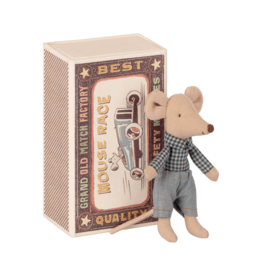 Maileg Mouse in Box - Little Brother (Gingham)