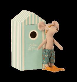 Maileg Beach Mouse - Big Brother w/ Beach Cabin