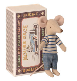 Maileg Mouse in Box - Big Brother (Stripes/Denim)