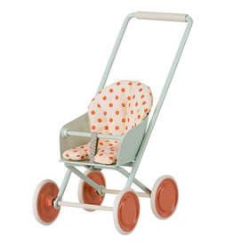 Maileg Baby Mouse Stroller, Sky Blue  (Dots)