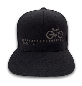 Hermosa Cyclery Hermosa Cyclery - The Strand, All Black, Structured Mid-Profile Black Hat - Yupoong 6089
