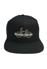 Hermosa Cyclery Hermosa Cyclery - Bike Logo, Structured High-Profile Black Hat - Trucker/Mesh - Fahrenheit 487