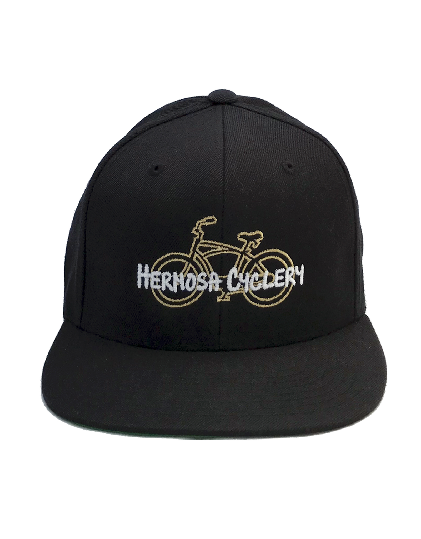 Hermosa Cyclery Hermosa Cyclery - Bike Logo, Structured Mid-Profile Black Hat - The Classic Yupoong 6089