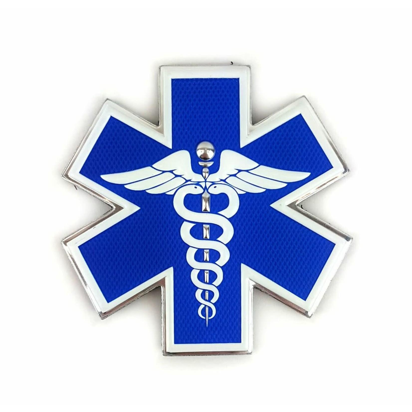 Klarus Tactical Innovations Chrome Morale Patch -Medical Responder - Star Of Life Dual Snake - Chrome Trim