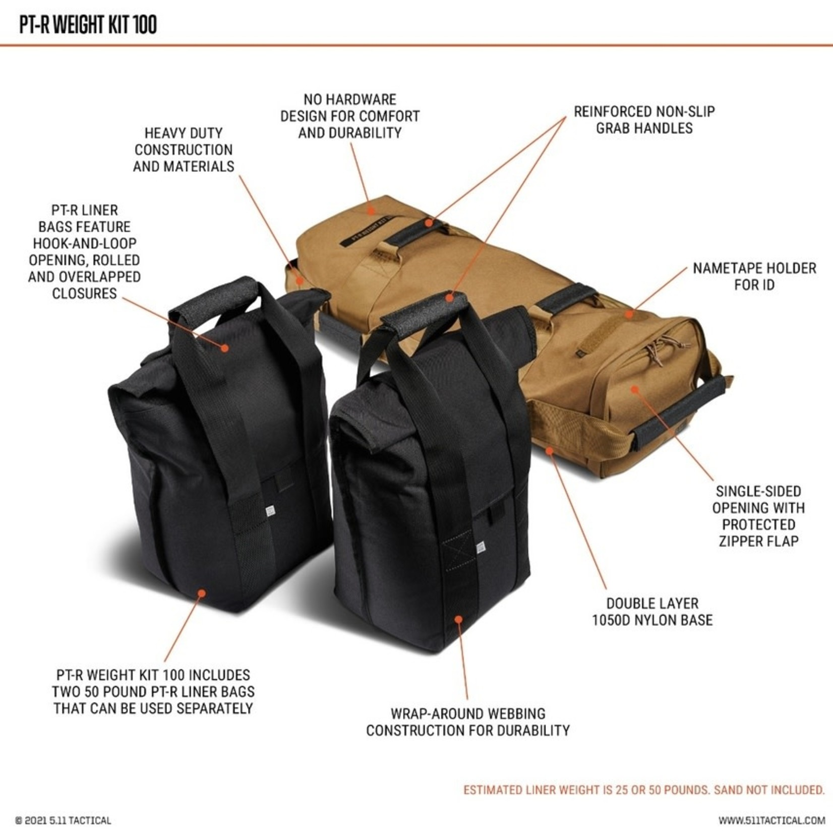5.11 Tactical 5.11 PT-R Weight Kit 100lbs