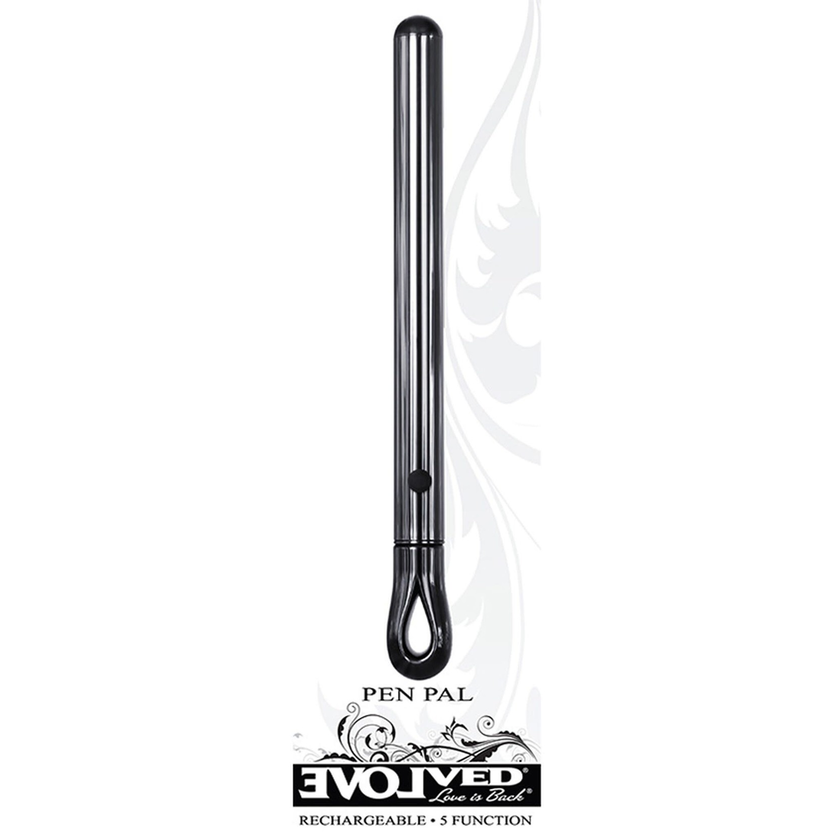 Pen Pal Rechargeable Compact Stainless Steel Vibrator - Black Chrome