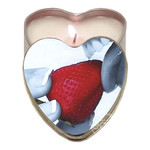 Earthly Body Heart-Shaped Hemp Seed Edible Massage Candle Strawberry 4oz