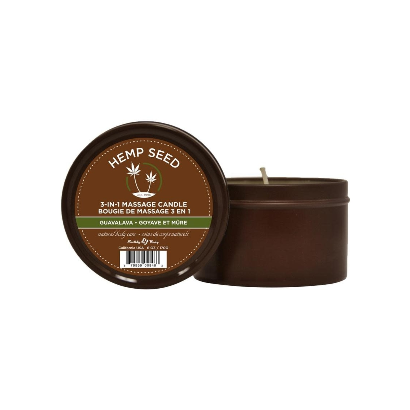 Earthly Body 3-in-1 Massage Candle-Guavalava 6oz