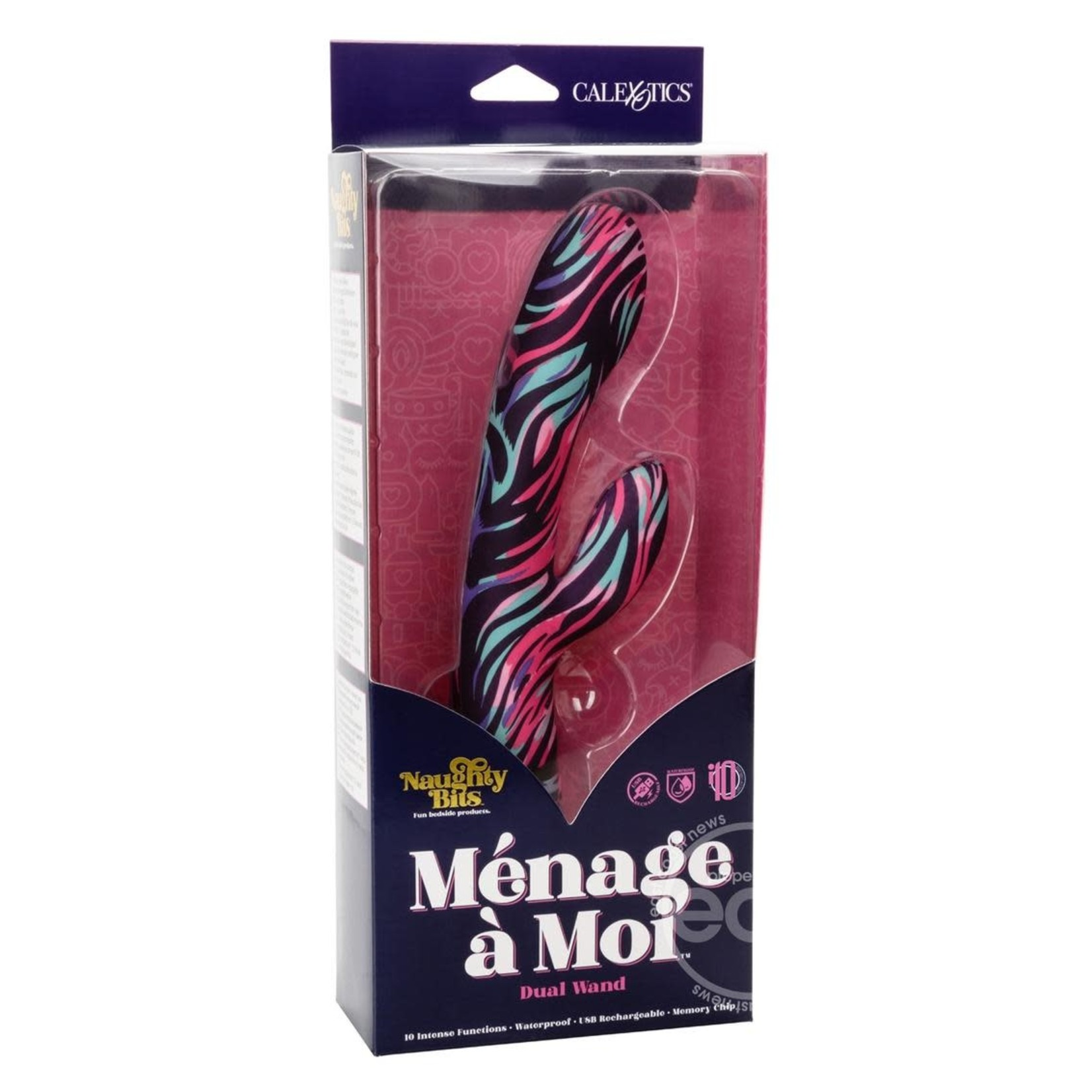 Naughty Bits Menage A Moi Silicone Rechargeable Dual Wand - Multi Color