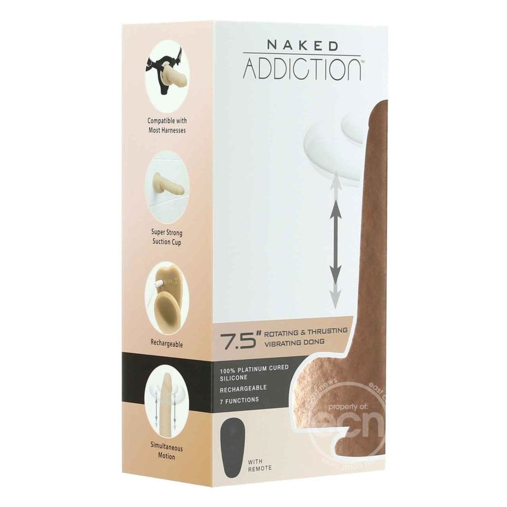 Naked Addiction Silicone Rechargeable Thrusting, Vibrating, and Rotating Dildo 7.5in - Vanilla