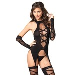 Leg Avenue Sheer Faux Lace Up Cami With Garter, Stockings, Gloves (3 Piece) - O/S - Black