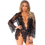 Leg Avenue Floral Lace Teddy With Adjustable Straps And Cheeky Thong Back, Matching Lace Robe With Scalloped Trim and Satin Tie (3 Piece) - Large - Black